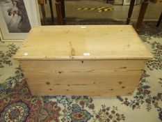 A stripped pine blanket box, 92cm wide.