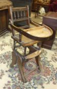 An Edwardian child's metamorphic stained wood high chair.