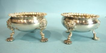 A pair of modern Georgian-style salts with gadrooned rims and mask and shell feet, Sheffield 1906,