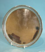 A small silver letter tray with raised pierced border, by Goldsmiths, Silversmiths Co, 20.5cm,