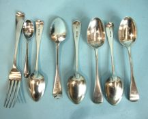 A set of six Old English pattern dessert spoons, London 1876, maker G.A, a Victorian fork and a