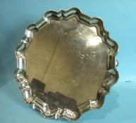 A large Mappin & Webb Chippendale-style salver on three scroll feet, 32cm diameter, Sheffield