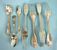 Four fiddle and shell table forks, London 1836 and three Irish teaspoons, ___15½oz.