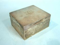 A plain rectangular cigarette box with cedar lining, Birmingham 1910, 10.5cm, engraved with initials