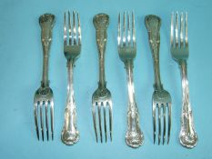A set of six Irish king's pattern dessert forks, Dublin 1839, maker Philip Weekes, with castle