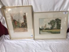 2 TATTON WINTER ETCHINGS CANTERBURY CATHEDRAL & STREET