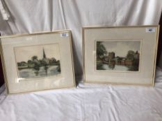 2 TATTON WINTER ETCHINGS-SUDBURY WATCH TOWER & CATHEDRAL RIVER
