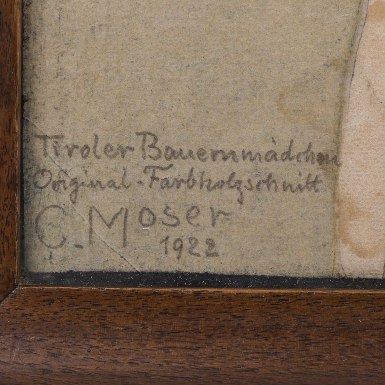 """Lot 1822 - MOSER, CARL (Bozen 1873-1939 ebenda, Tiroler Künstler), """"Tiroler Bauernmädchen"""", 1922,<b"""