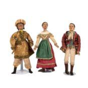 Wohl ITALIEN drei Holzfiguren, 19. Jh. 3 verschiedene Figuren mit passender Kleidung im Stile eines