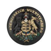 """Rundes massives Wappenschild """"KOENIGREICH WUERTTEMBERG"""","""