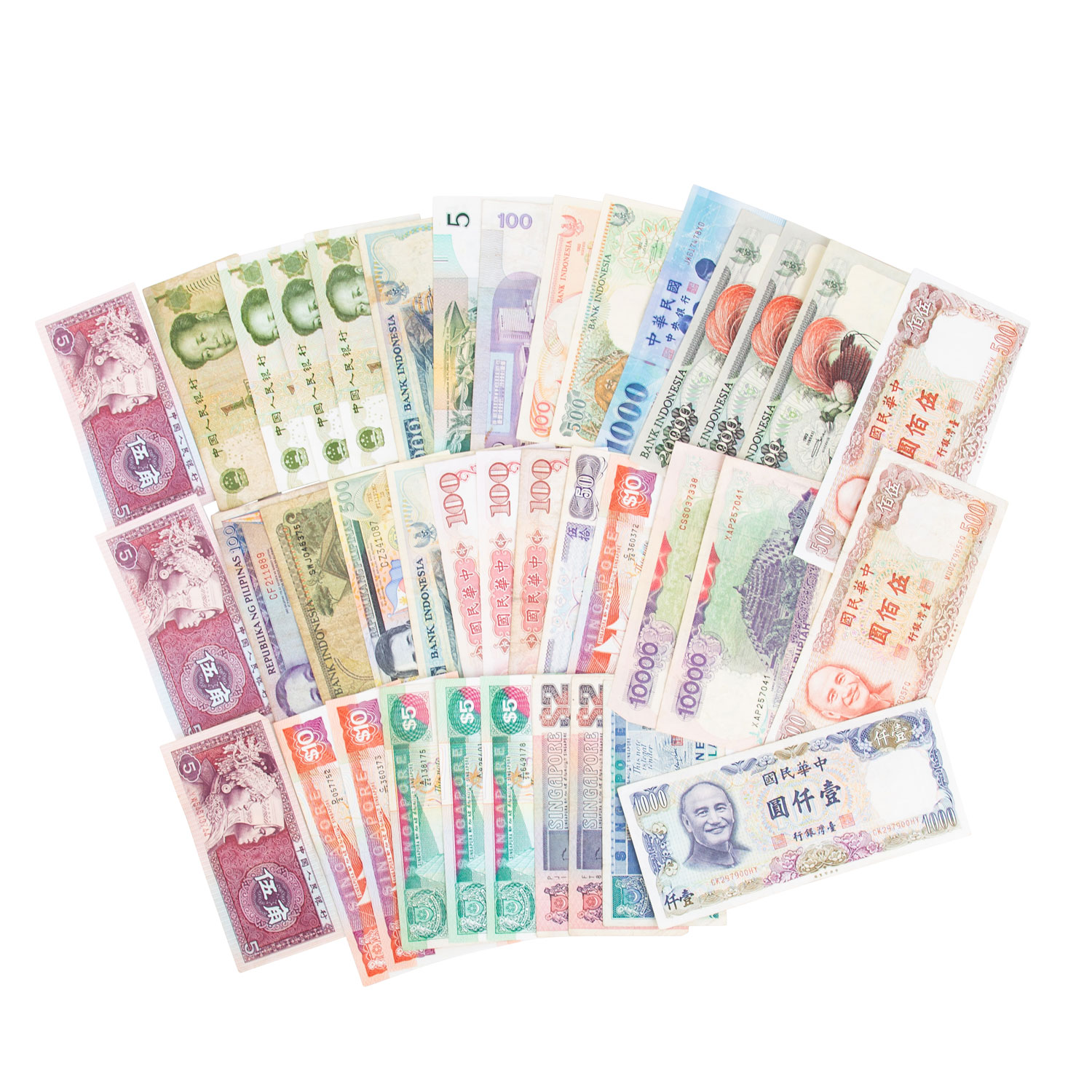 Lot 700 - Banknoten 20. Jh. Asien mit u.a. China,Taiwan, Philippinen, Indonesien, Singapur. 38 Stück,
