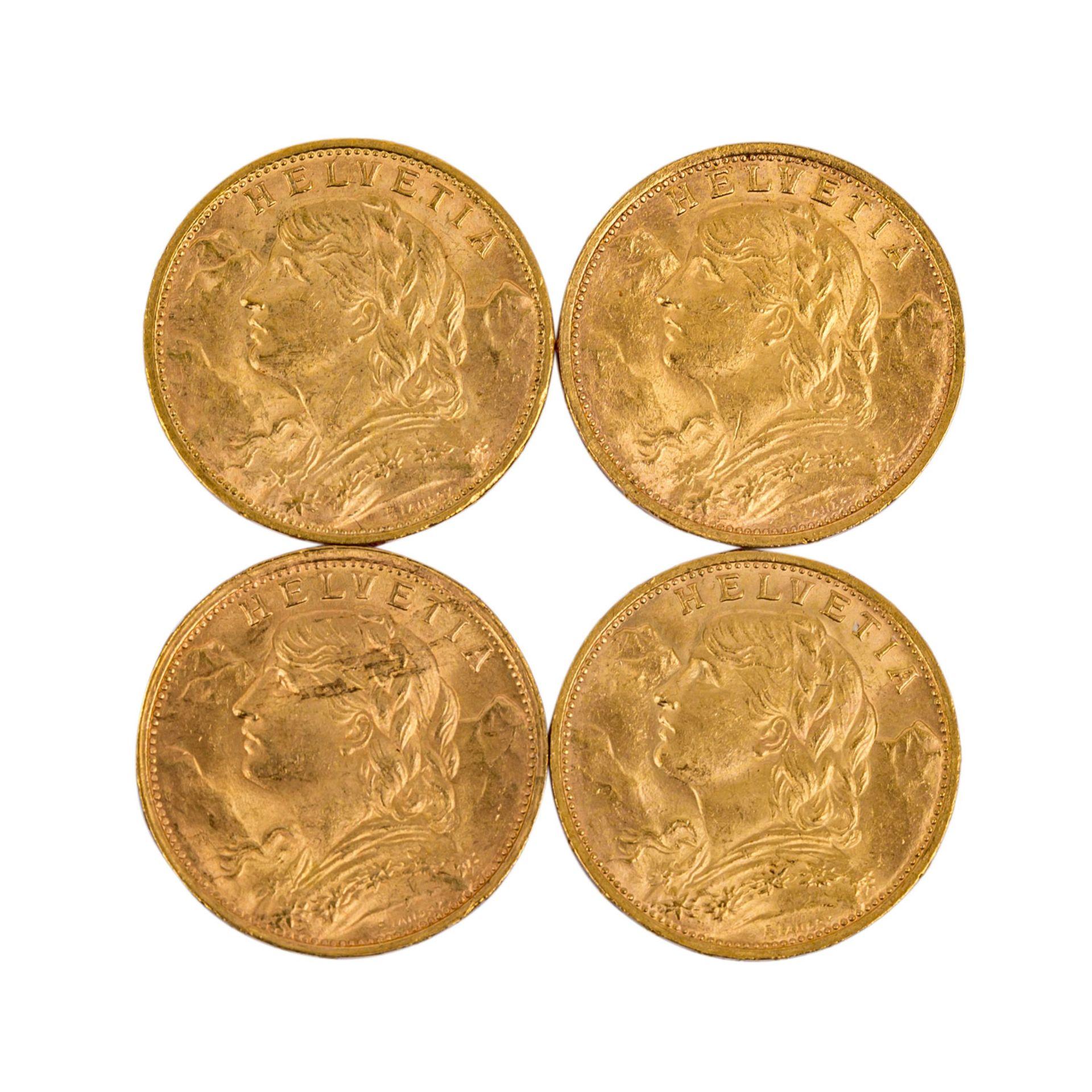 Schweiz - 4 x 20 Franken, Motiv Vreneli,