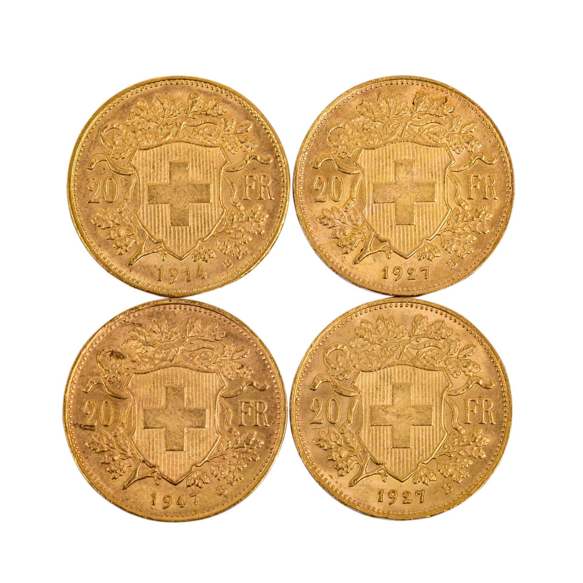 Schweiz - 4 x 20 Franken, Motiv Vreneli, - Bild 2 aus 2