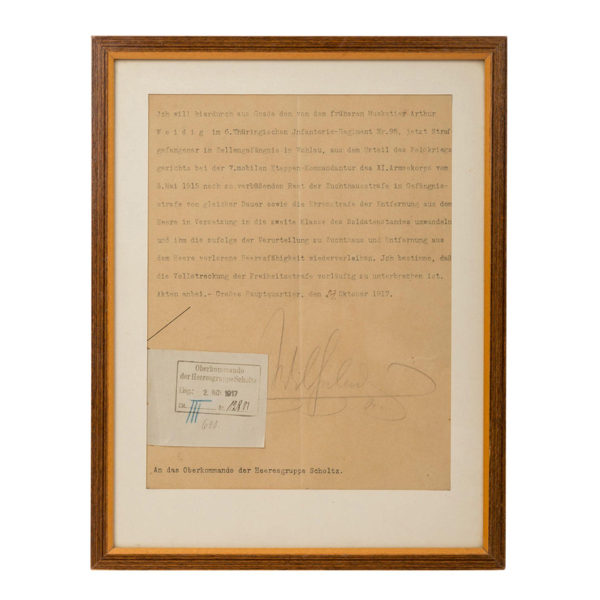 Kaiser Wilhelm II - Typoskript mit Unterschrift