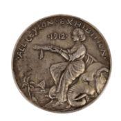 Ceylon - Silberne Preismedaille 1912,All Ceylon Exhibition, Av: Frau hält Kranz, Elef