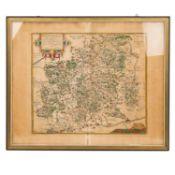 Hist. Kupferstichlandkarte des Herzogtums Württemberg -Handkolorierte, detailreiche
