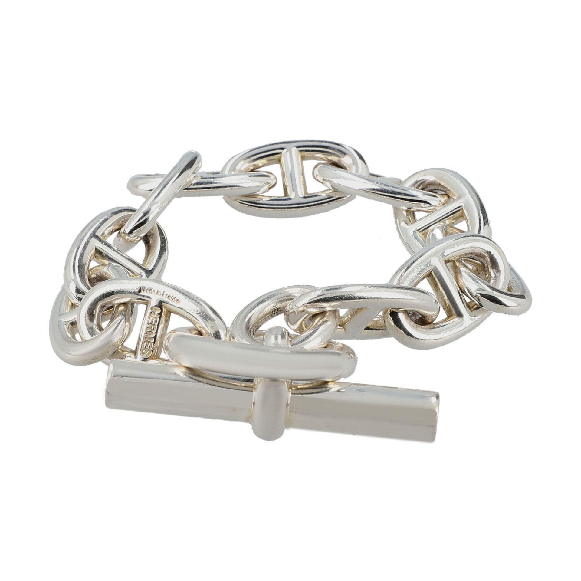 """HERMÈS Armkette """"CHAIN D´ANCRE"""", Länge: 21cm.NP.: 1.080,-€. 925 Silber. Klassische Glieder mit"""