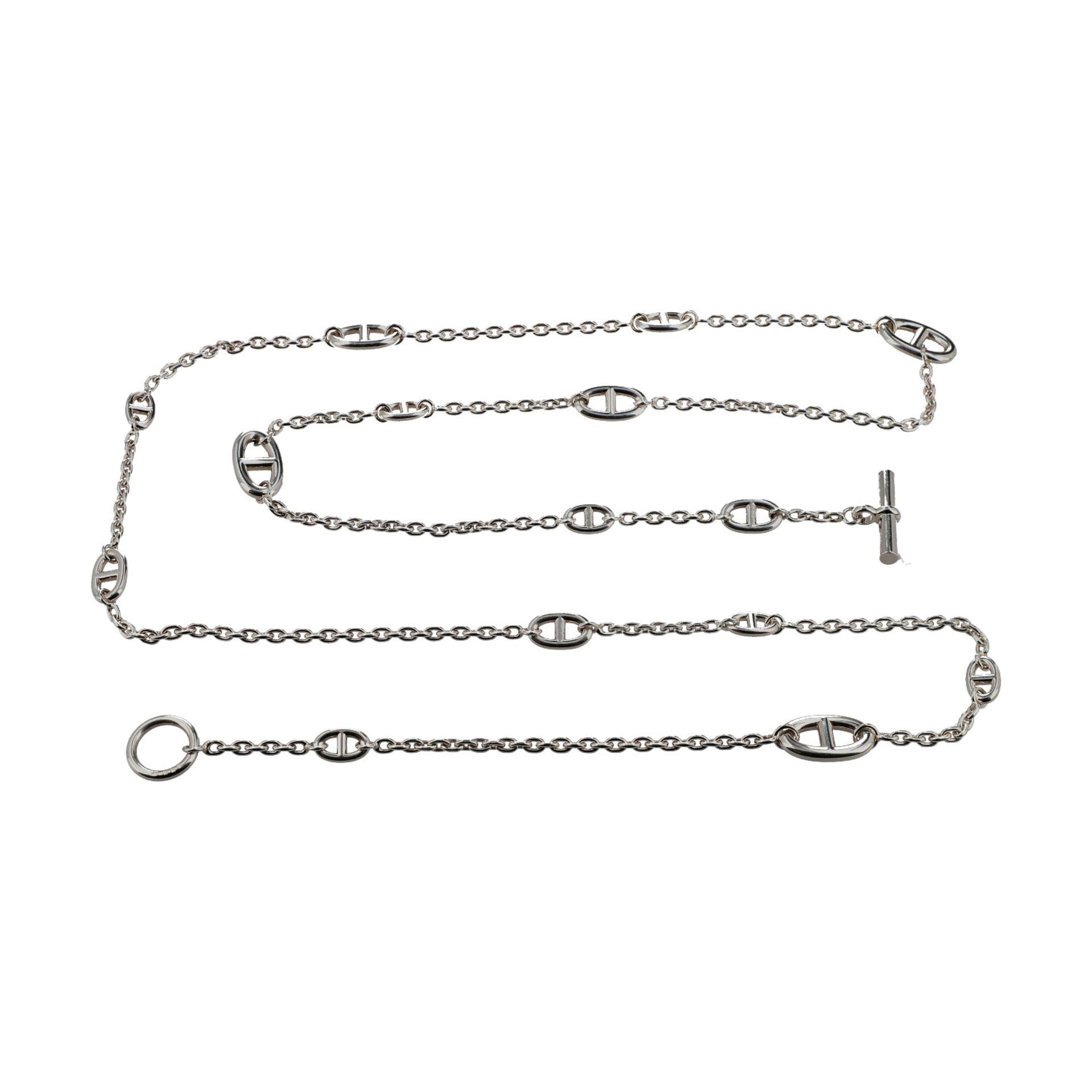 """HERMÈS Collier """"FARANDOLE"""", Länge: 120cm.NP.: 1.310,-€. 925 Silber. Feine Gliederkette mit Chain d`"""