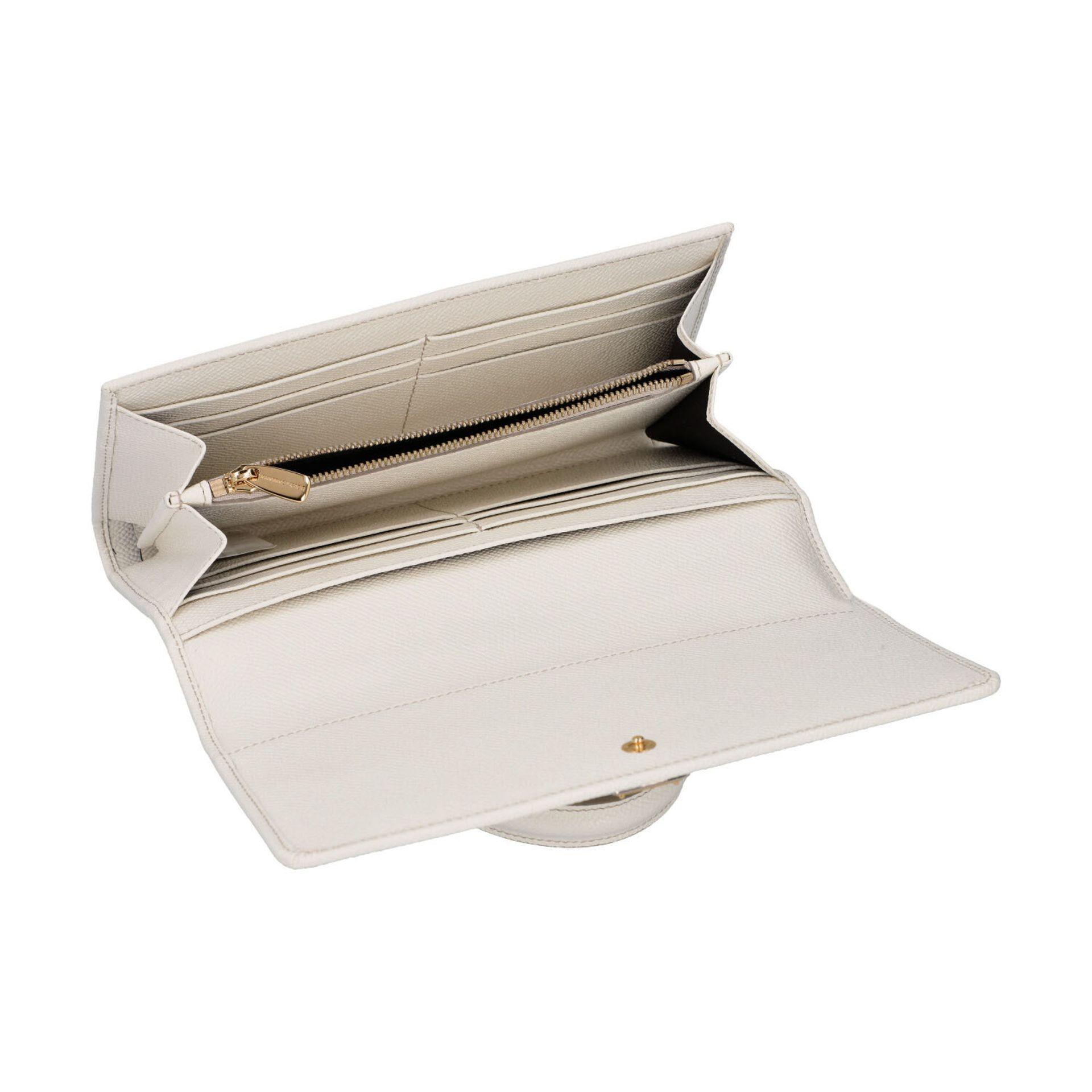 """DOLCE & GABBANA Wallet on Chain """"SICILY WALLET"""".Fein genarbtes Leder in Weiß mit goldfarbener - Bild 6 aus 6"""
