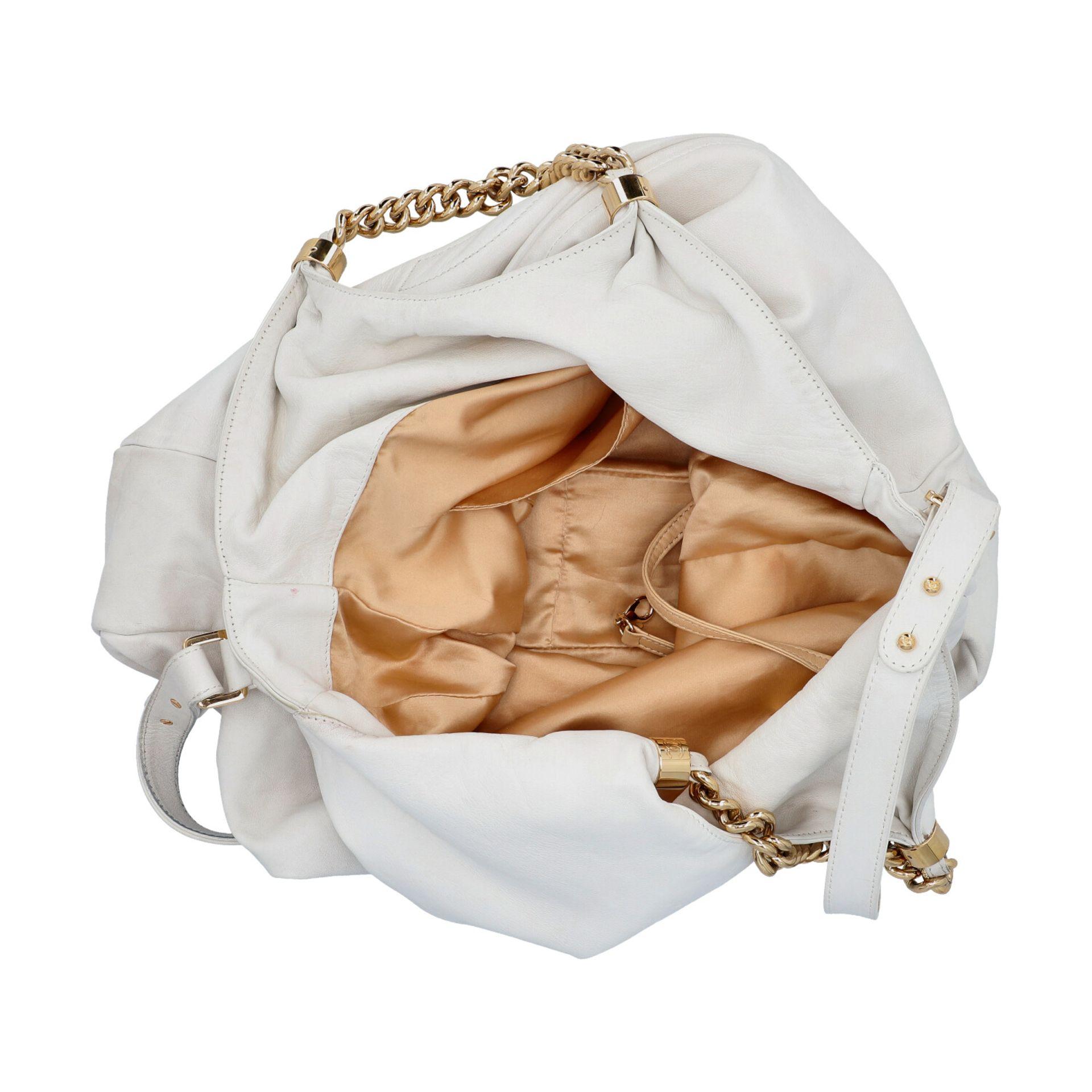 CHANEL Shoppertasche, Koll. 2006/2008.Hobo Bag aus weißem Leder mit goldfarbener Hardware, Front mit - Bild 6 aus 8