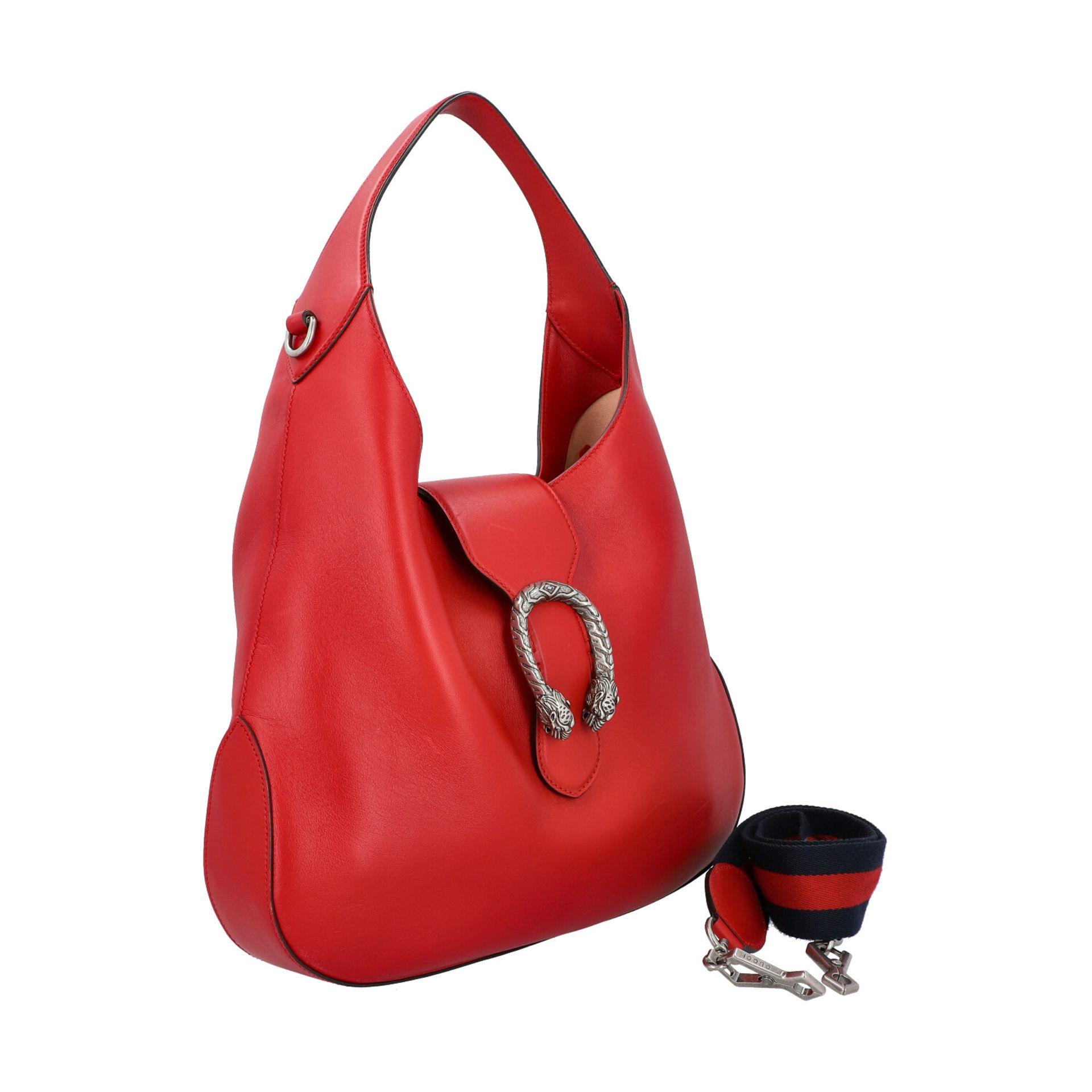 """GUCCI Hobobag """"DIONYSUS NERO"""".Feines Glattleder in Rot mit silberfarbener Hardware, Lasche mit - Bild 2 aus 8"""