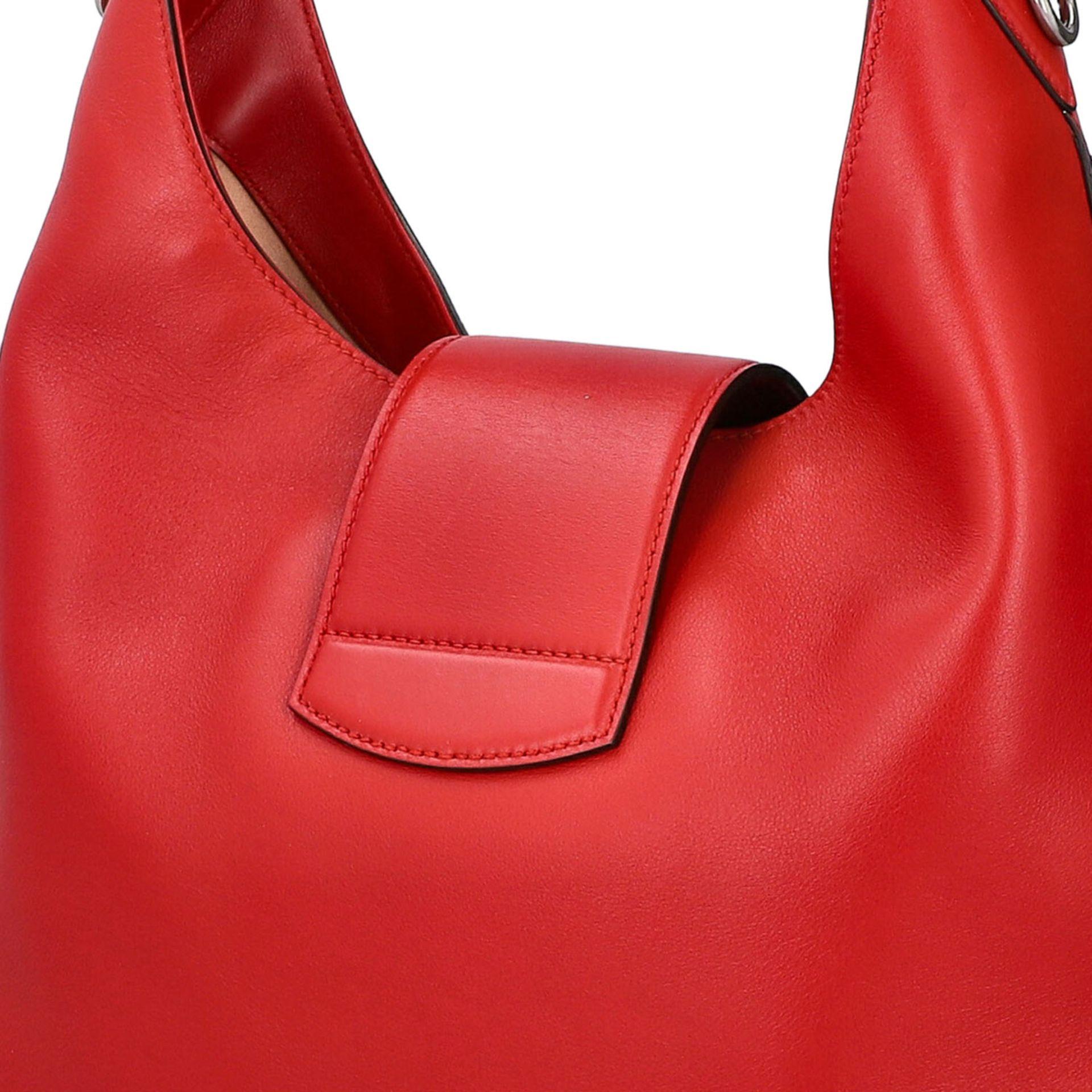 """GUCCI Hobobag """"DIONYSUS NERO"""".Feines Glattleder in Rot mit silberfarbener Hardware, Lasche mit - Bild 7 aus 8"""