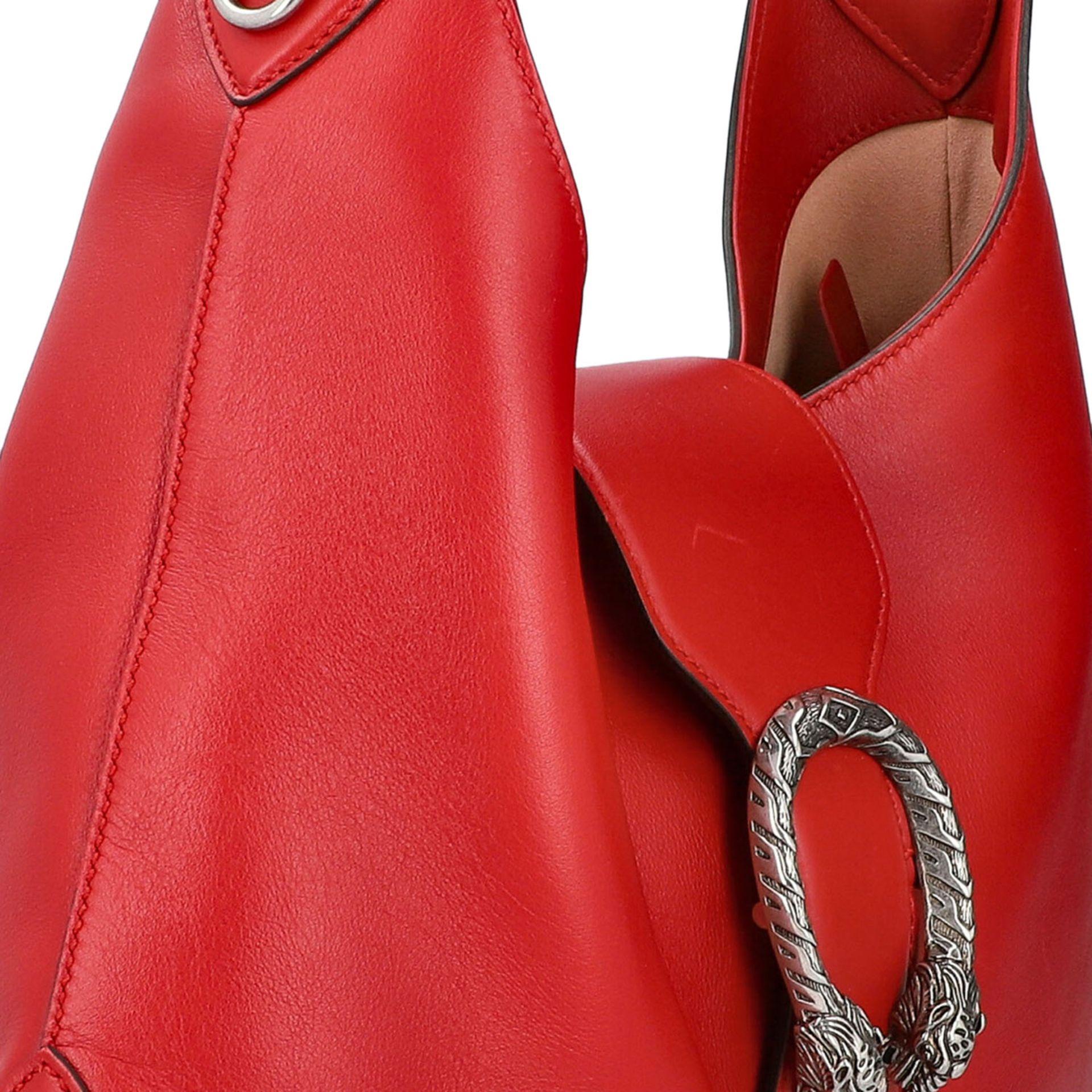 """GUCCI Hobobag """"DIONYSUS NERO"""".Feines Glattleder in Rot mit silberfarbener Hardware, Lasche mit - Bild 8 aus 8"""