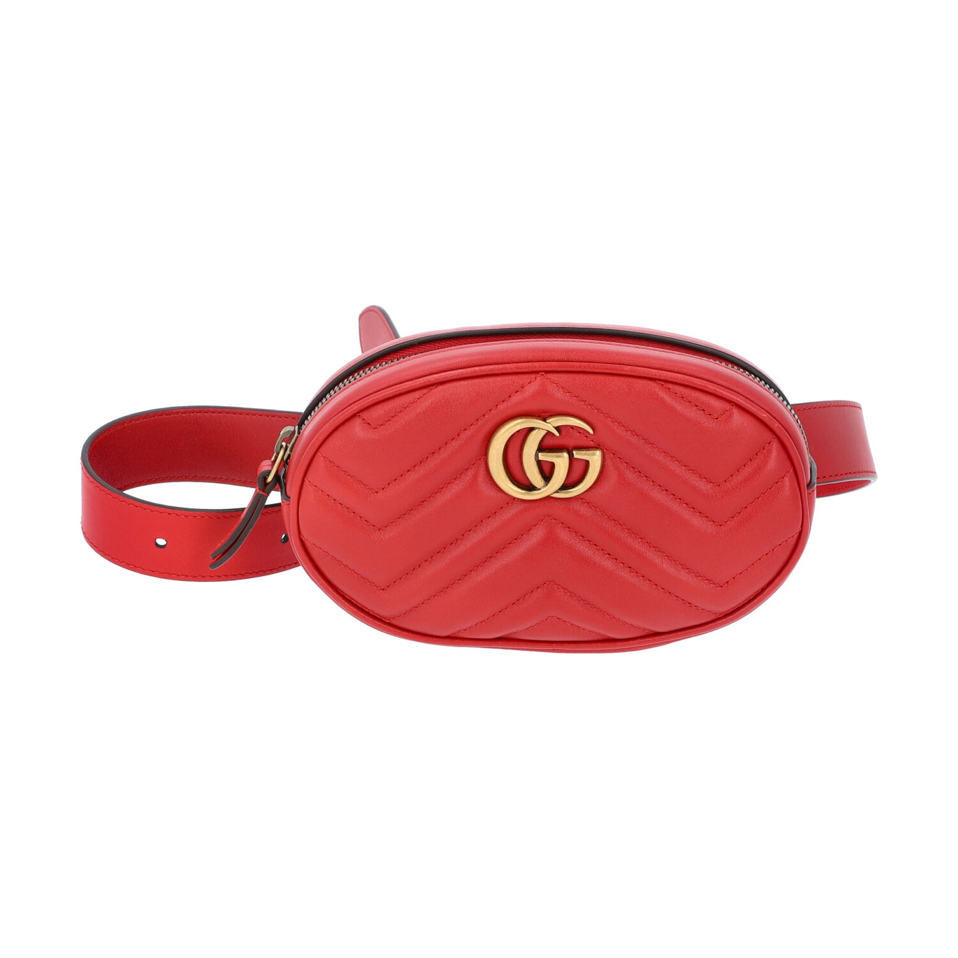 "GUCCI Gürteltasche ""GG MARMONT"". Gürtellänge 75cm.Akt. NP.: 950,-€. Matelassé-Leder in Rot mit"