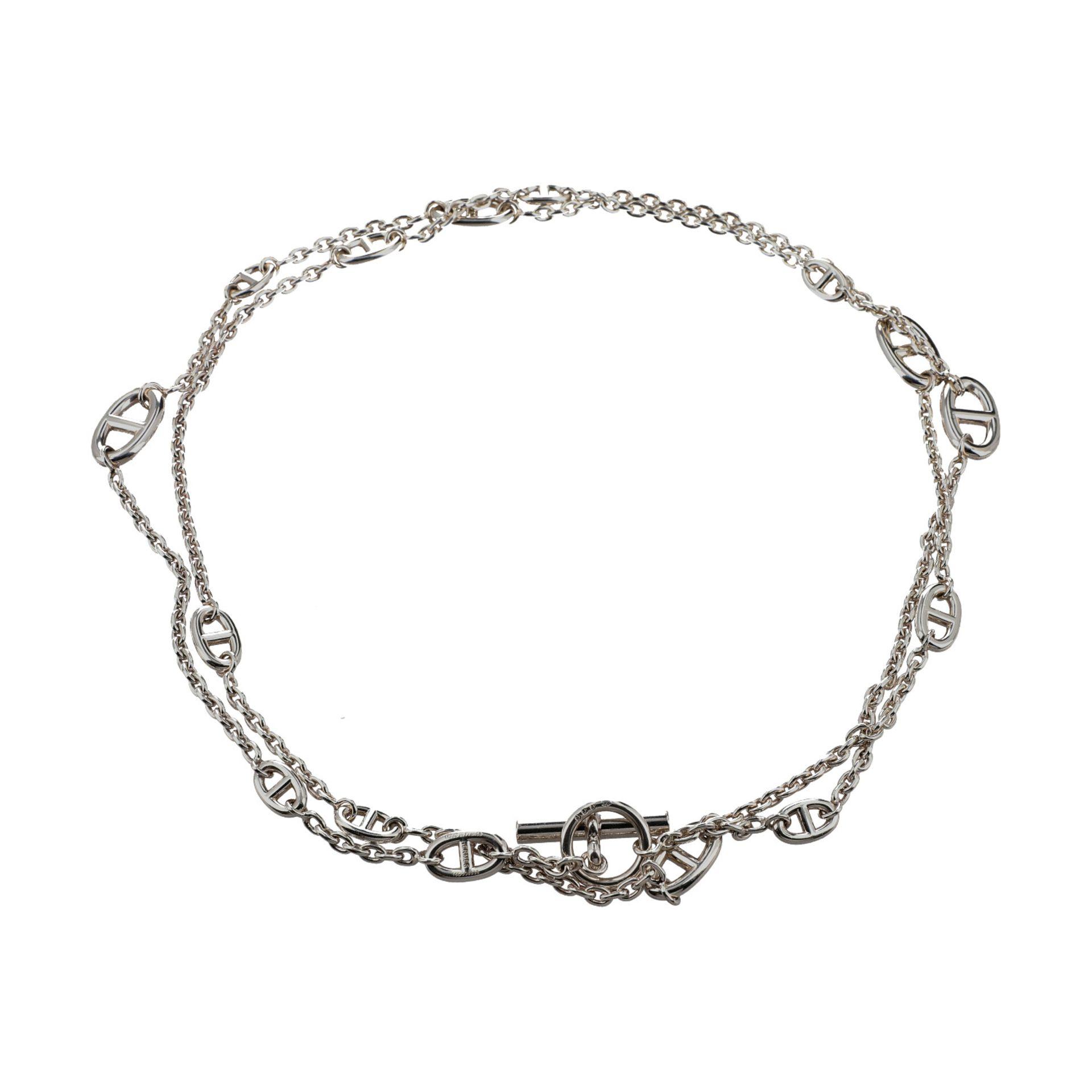 """HERMÈS Collier """"FARANDOLE"""", Länge: 120cm.NP.: 1.310,-€. 925 Silber. Feine Gliederkette mit Chain d` - Bild 2 aus 3"""