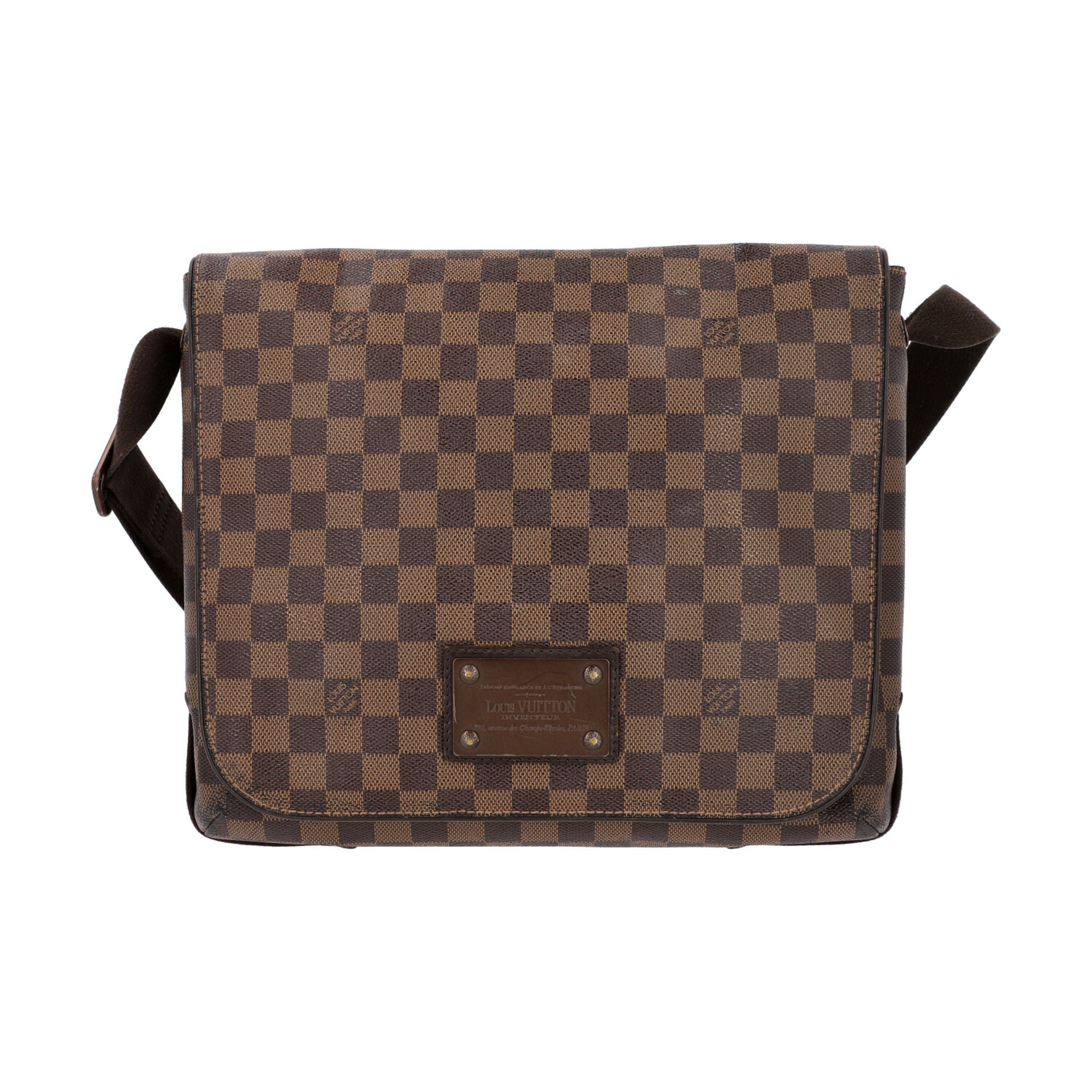 "LOUIS VUITTON Messenger Bag, ""BROOKLYN MM"", Koll. 2010.Damier Ebene Serie mit textilem"