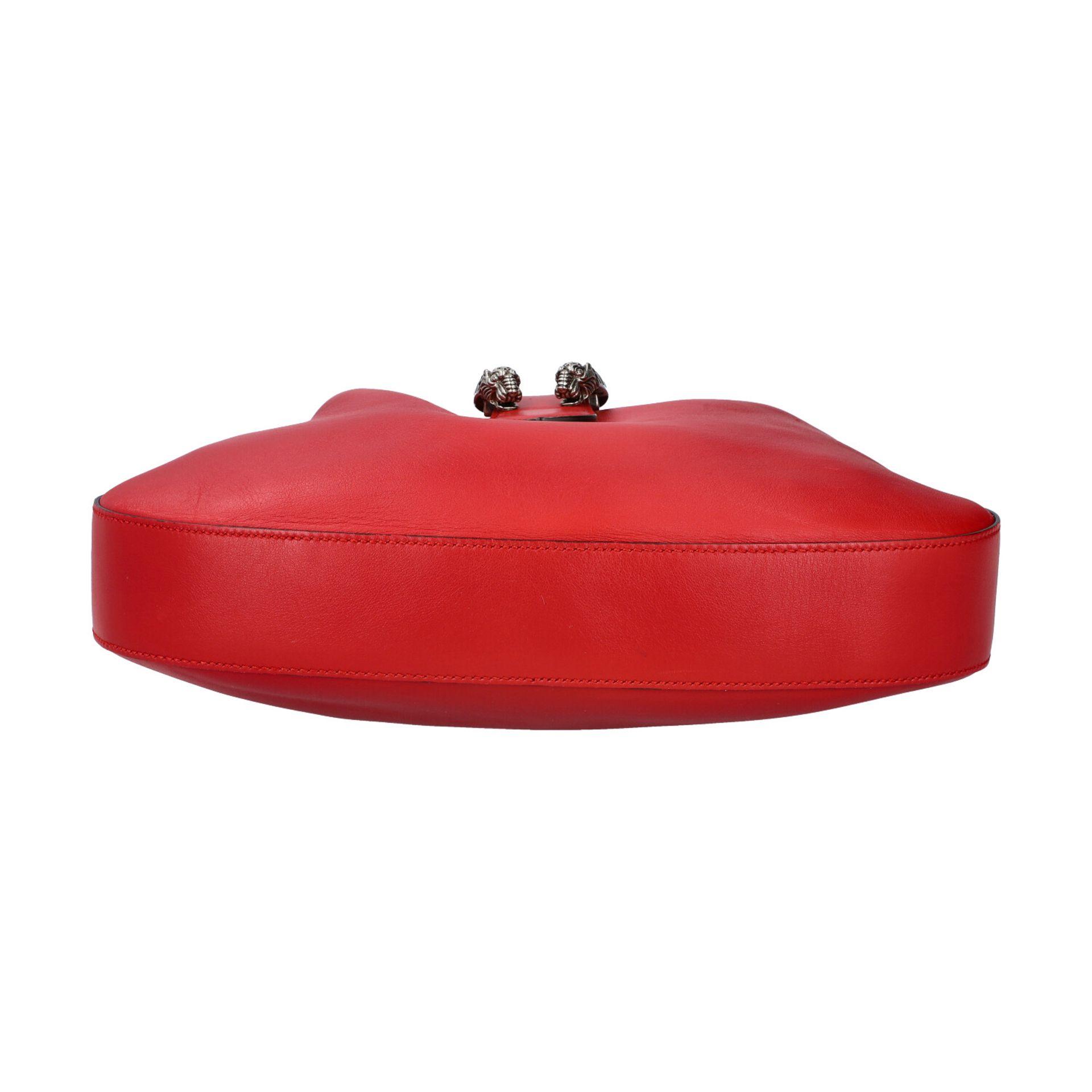 """GUCCI Hobobag """"DIONYSUS NERO"""".Feines Glattleder in Rot mit silberfarbener Hardware, Lasche mit - Bild 5 aus 8"""