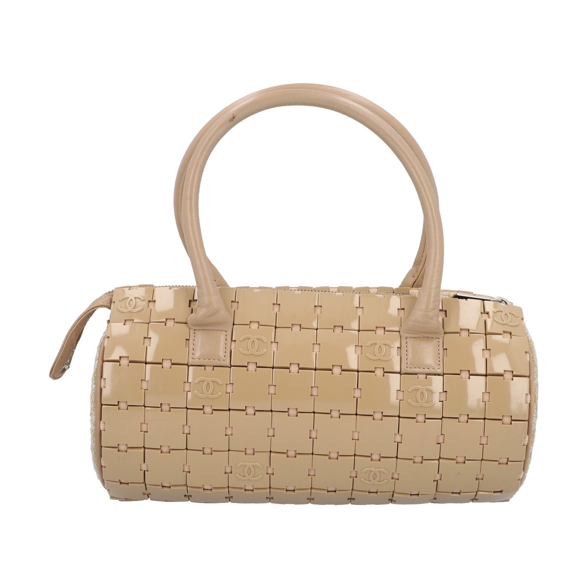 """CHANEL Handtasche """"PUZZLE BLOCK"""", Koll. 2000/2002.Textil, Leder und Kunststoff in Beige. Puzzle- - Bild 4 aus 8"""