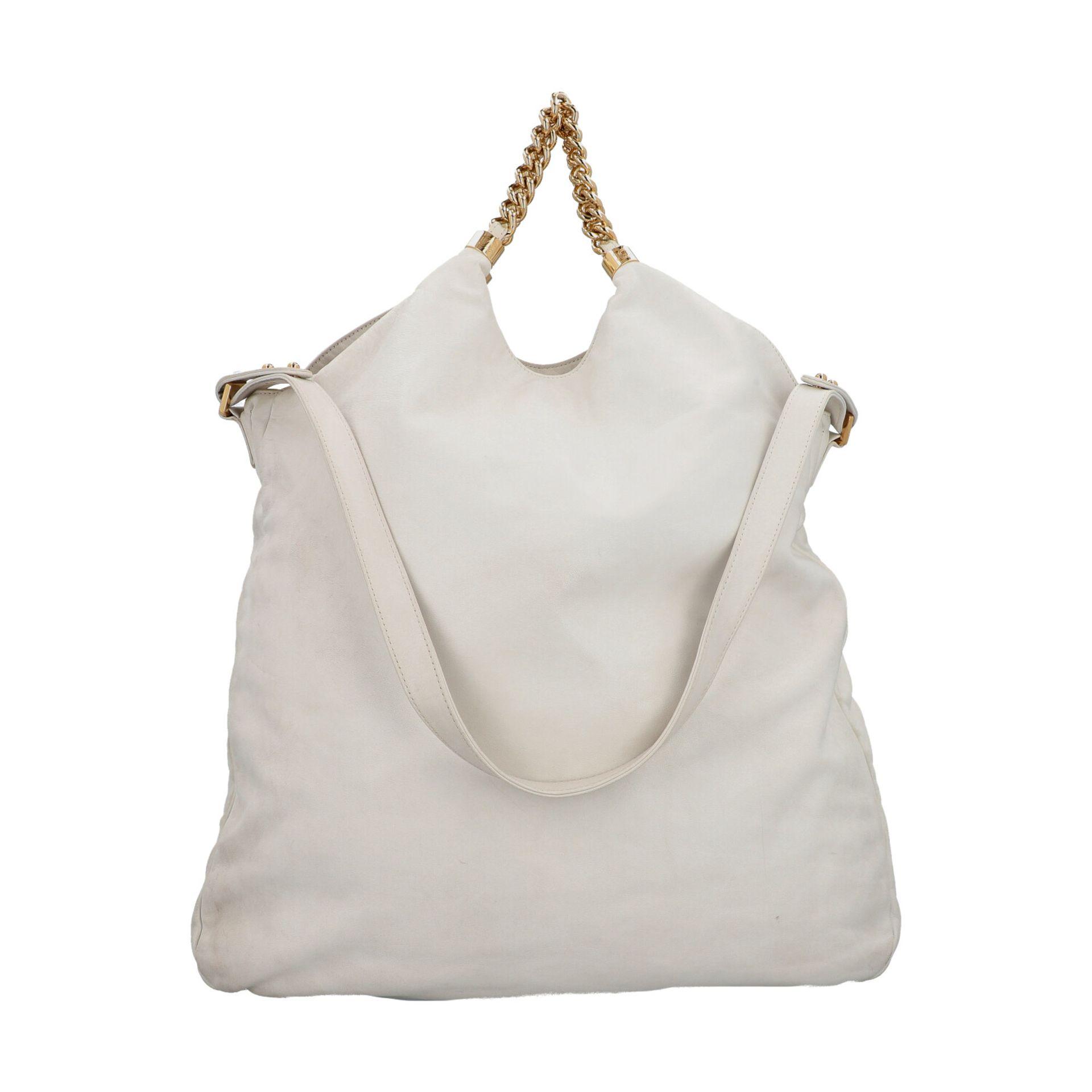 CHANEL Shoppertasche, Koll. 2006/2008.Hobo Bag aus weißem Leder mit goldfarbener Hardware, Front mit - Bild 4 aus 8