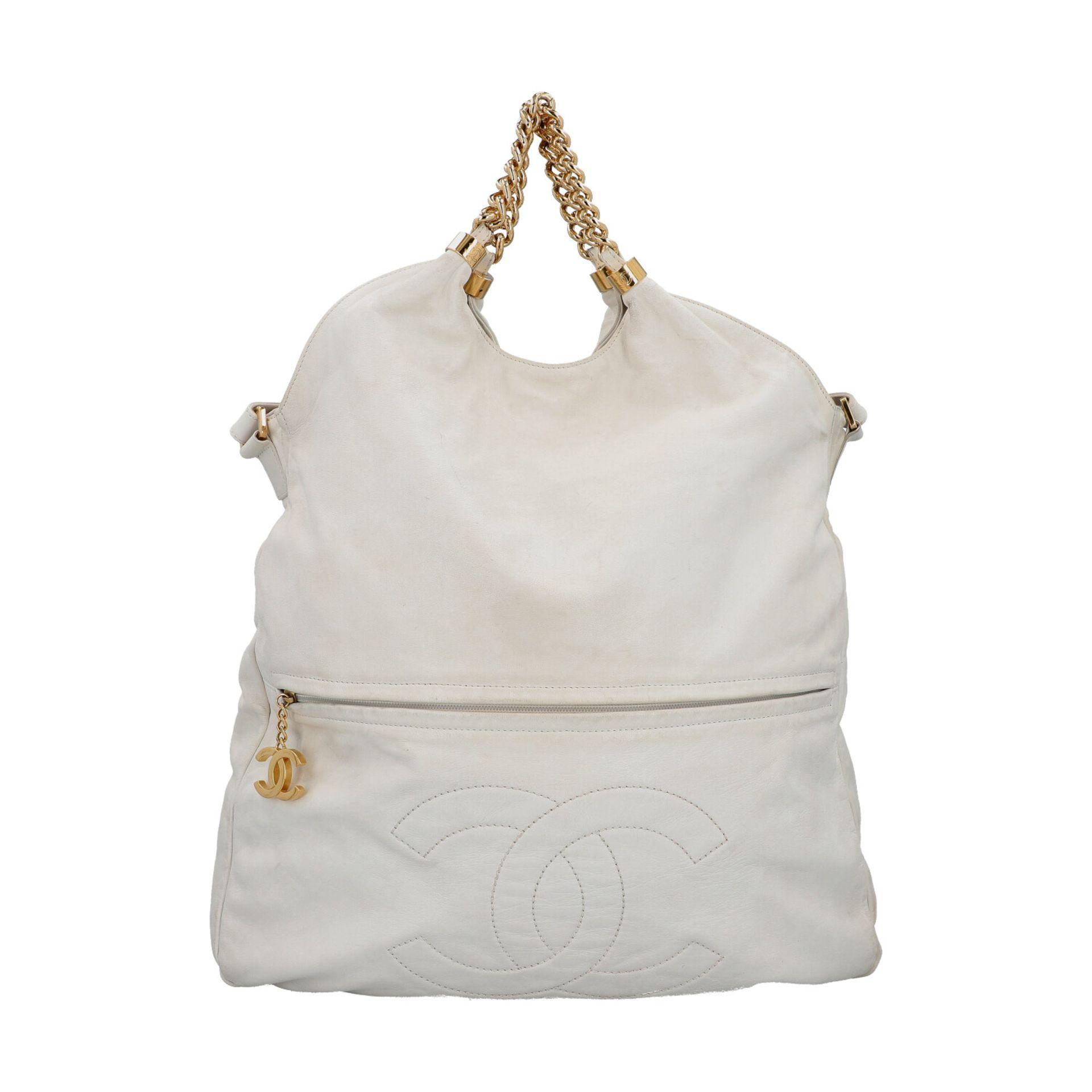 CHANEL Shoppertasche, Koll. 2006/2008.Hobo Bag aus weißem Leder mit goldfarbener Hardware, Front mit