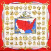 "HERMÈS Seidencarré ""U.S.A ARMS OF THE UNITED STATES""."