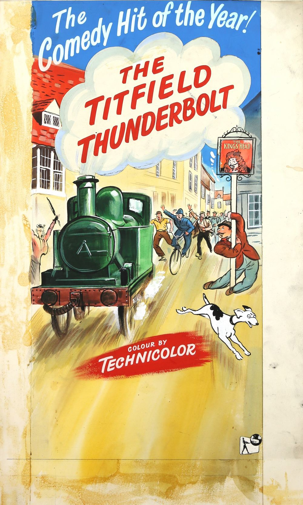 Lot 1284 - The Titfield Thunderbolt (1953) Original hand painted artwork for the UK film poster of the Ealing