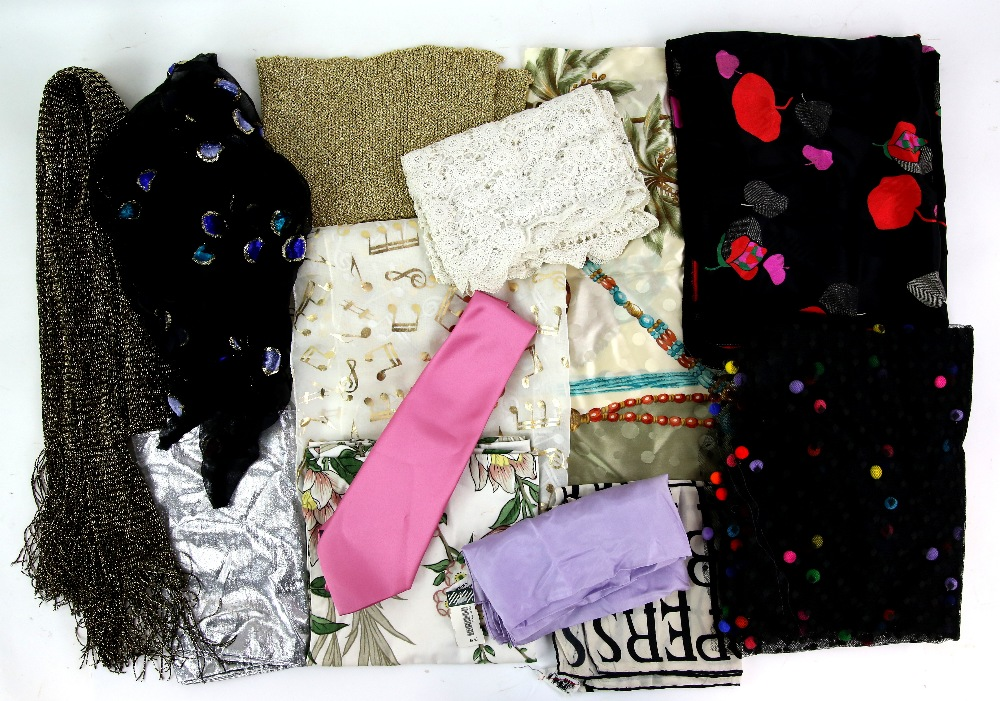 Lot 2003 - A very large quantity of vintage scarves including Celine silk scarf, Jacqmar and other fashion