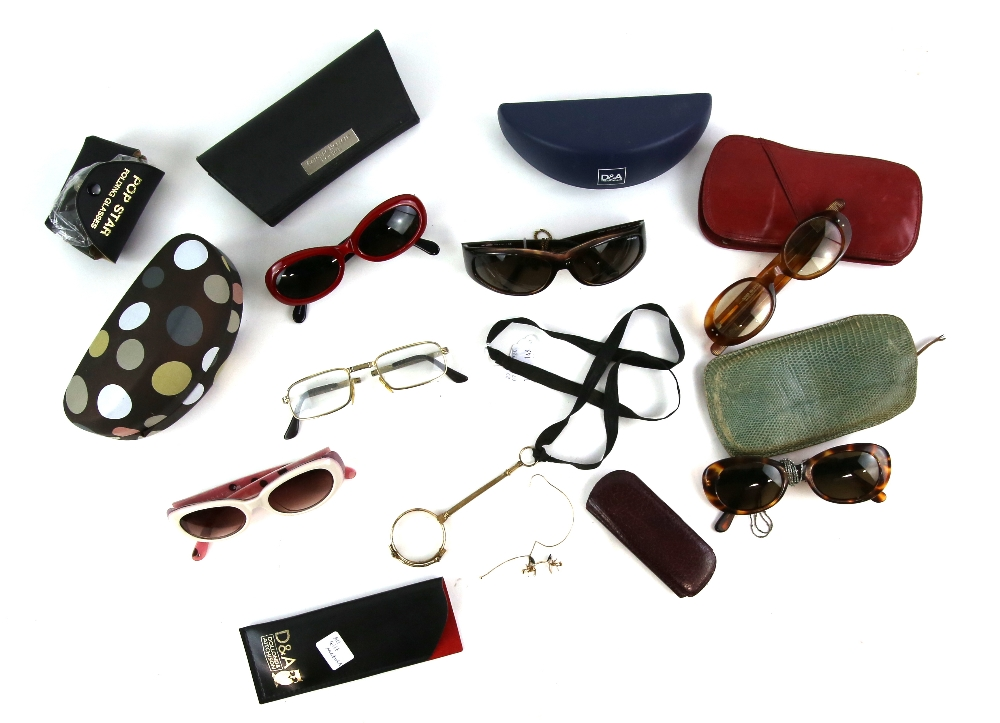 Lot 2054 - 5 of pairs of vintage sun glasses, a pair of gilt metal Lorgnettes and a pair of Pince Nez in gilt