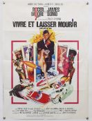 James Bond Live and Let Die French petite poster, folded, 23 x 31 inches and Diamonds Are Forever