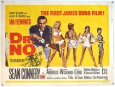 James Bond Dr No (1962) British Quad film poster for the first James Bond film, illustration by
