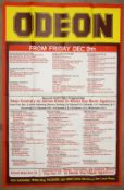 James Bond - Odeon listings poster from the 1980's showing the listings of the London cinema's and