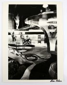 James Bond - Large black and white still showing the set of a a James Bond film, signed to the
