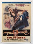 James Bond Goldfinger (1964) French medium film poster, starring Sean Connery, United Artists, linen