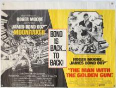 James Bond Moonraker / The Man With The Golden Gun (1979) British Quad double bill film poster,