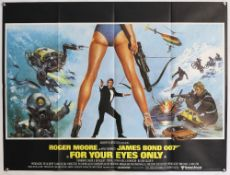 James Bond For Your Eyes Only (1981) British Quad film poster, starring Roger Moore, Design by