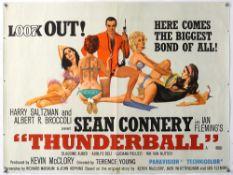 James Bond Thunderball (1965) British Quad film poster, starring Sean Connery, artwork by Robert