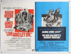 James Bond Live and Let Die / On Her Majesty's Secret Service (1969) British Quad film poster, linen