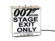 James Bond - Metal lightbox '007 Sound Stage Exit Only Property of Pinewood Studios Do Not