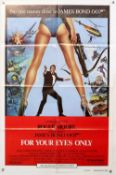 James Bond For Your Eyes Only (1981) One Sheet film poster, Int'l version, folded, 27 x 41 inches.