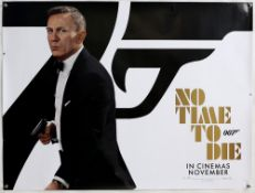 James Bond No Time To Die (2020) Main teaser British Quad film poster, showing an image of Daniel